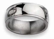 Grooved Titanium Band High Polish Finish in 8mm