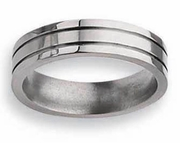 Grooved Titanium Ring  High and Matte Finish in 6mm