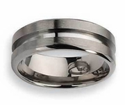 Grooved Titanium Ring High and Matte Finish in 8mm