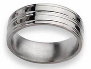 Grooved Titanium Ring High Polish Finish in 8mm