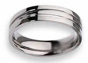 Grooved Titanium Ring High Polished Finish 6mm