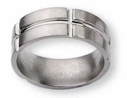 Grooved Titanium Wedding Band 8mm