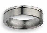 Grooved Titanium Wedding Band for Men or Women 6mm