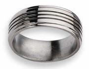 Grooved Titanium Wedding Ring High Polish Finish in 8mm