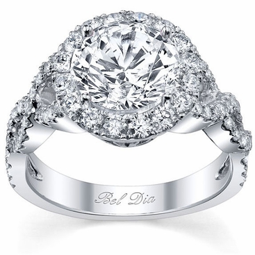 Halo Diamond Engagement Ring with Twisted Split Shank - click to enlarge