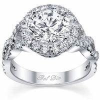 Halo Diamond Engagement Ring with Twisted Split Shank