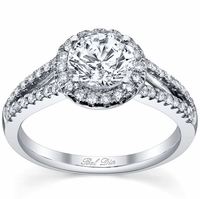 Halo Engagement Ring Setting with Leaf Design and Split Shank