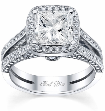 Halo Engagement Ring Setting with Micro Pave Split Shank - click to enlarge