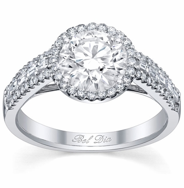 Halo Engagement Ring with Baguette and Micro Pave Diamonds - click to enlarge