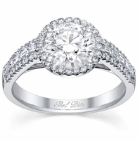 Halo Engagement Ring with Baguette and Micro Pave Diamonds