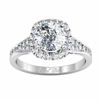 Halo Engagement Ring with Tapered Pave Band