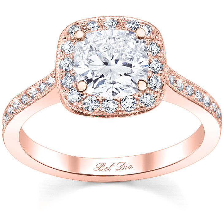 halo pave engagement ring square setting - Square Diamond Wedding Rings