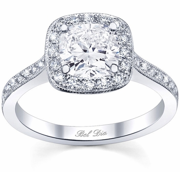 Halo Pave Engagement Ring Square Setting - click to enlarge