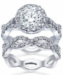 Halo Ring Twisted Split Shank and Matching Infinity Wedding Band