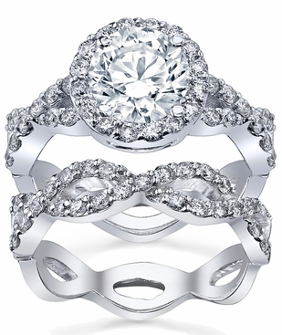 halo ring twisted split shank and matching infinity wedding band click to enlarge - Halo Wedding Ring