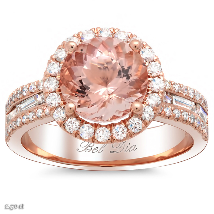 halo rose gold engagement ring with morganite and baguettes - Wedding Rings Rose Gold
