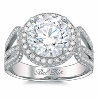 Halo Setting for Round Diamond or Moissanite with a Triple Shank Band