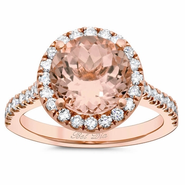 Halo Setting for Round Morganite - click to enlarge