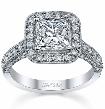 Halo Setting Square Engagement Ring - click to enlarge
