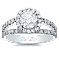 Halo Split Shoulders Round Engagement Ring