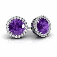 Halo Studs with Amethysts