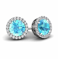 Halo Studs with Aquamarines