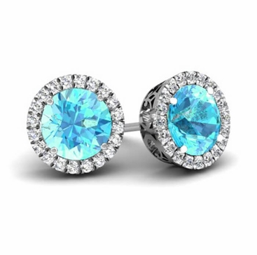 Halo Studs with Aquamarines - click to enlarge