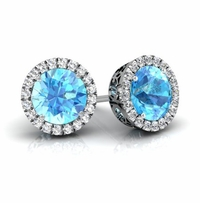 Halo Studs with Blue Topazes