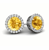 Halo Studs with Citrines