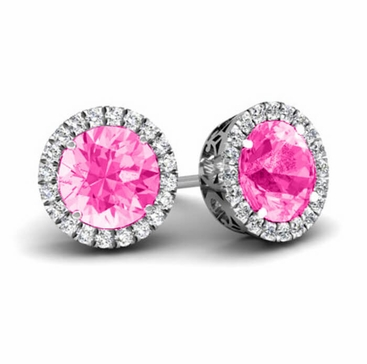 Halo Studs with Pink Sapphires - click to enlarge