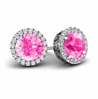 Halo Studs with Pink Sapphires