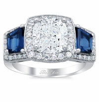 Halo Three Stone Engagement Ring with Trapezoid Sapphires