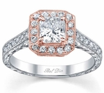 Halo White and Rose Gold Engagement Rings