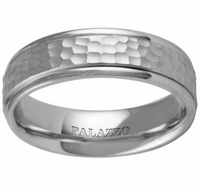 Hammered Men's Palladium Wedding Ring 6.5mm