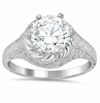 Hand Engraved Diamond Engagement Ring