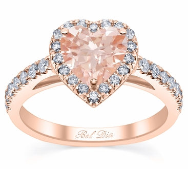 Heart Cut Morganite Engagement Ring in Rose Gold - click to enlarge
