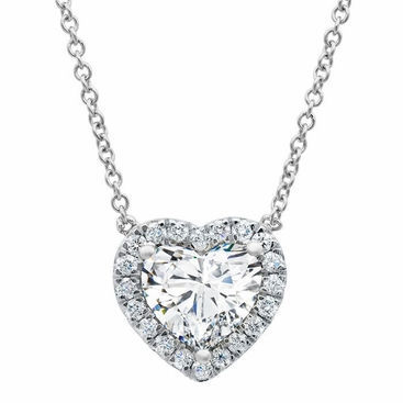 Heart Diamond Halo Pendant Necklace - click to enlarge