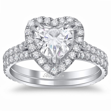 Heart Halo Engagement Ring with Double Shank - click to enlarge