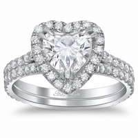 Heart Halo Engagement Ring with Double Shank
