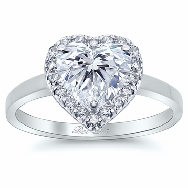 Heart Halo Engagement Ring with Plain Band - click to enlarge