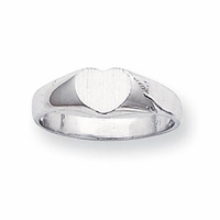 Heart Shaped 14k Gold Signet Ring 5mm