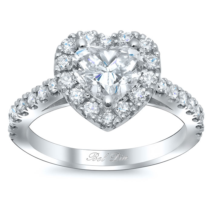 heart shaped halo diamond engagement ring click to enlarge