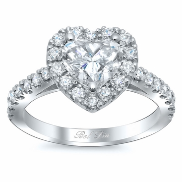 Heart Shaped Halo Diamond Engagement Ring - click to enlarge
