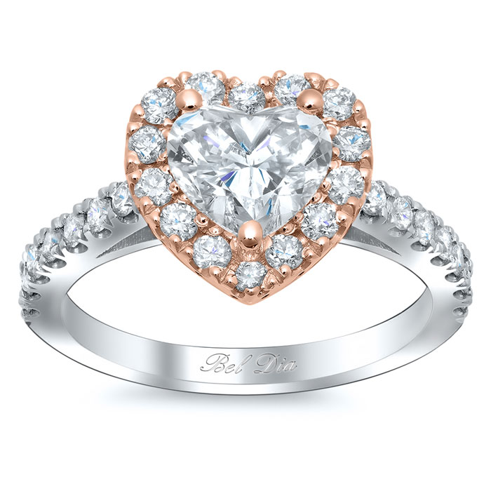 heart shaped halo engagement ring rose gold - Heart Shaped Wedding Rings