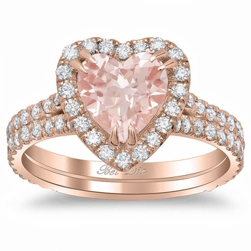 Heart Shaped Morganite Double Shank Engagement Ring - click to enlarge