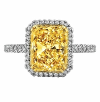 'Helene' Fancy Intense Yellow Diamond Halo Engagement Ring