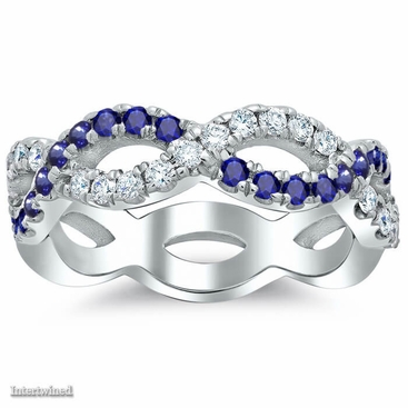 Infinity Sapphire and Diamond Wedding Ring - click to enlarge