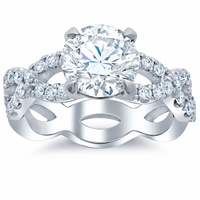 Infinity Style Diamond Accented Engagement Ring