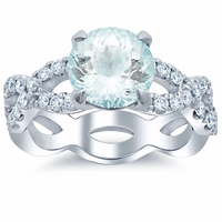 Infinity Style Engagement Ring for Round Aquamarine