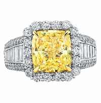 'Isabella' Halo Engagement Ring for Fancy Intense Canary Diamond